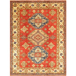 Pasargad Kazak Hand-knotted Wool Rust/ Ivory Rug (4' 8 x 6' 5)