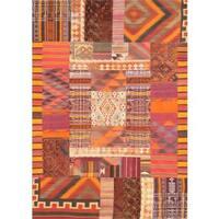 Pasargad Vintage Patchwork Wool Multicolor Area Rug - 6' 5 x 9' 5