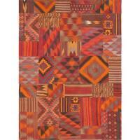 Pasargad Vintage Patchwork Wool Multi Color Area Rug - 5' 9 x 8' 1