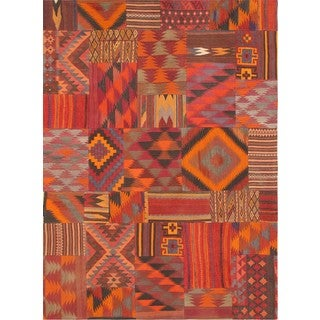 Pasargad Vintage Patchwork Wool Multi Color Area Rug