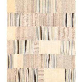 Pasargad Vintage Turkish Patchwork Wool Ivory/ Multi Area Rug (6' 6 x 7' 11)