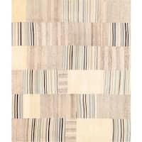 Pasargad Vintage Turkish Patchwork Wool Ivory/ Multi Area Rug - 6' 6 x 7' 11