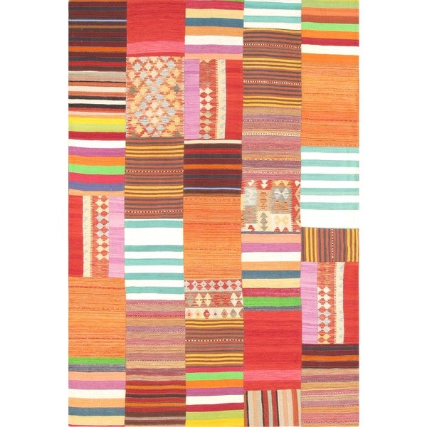 Pasargad Vintage Turkish Patchwork Wool Multi Area Rug - 6' 6 x 9' 10