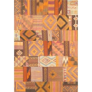 Pasargad Turkish Vintage Patchwork Wool Area Rug (6' 6 x 9' 8)