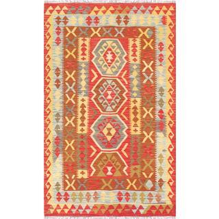 Pasargad Turkish Kilim Hand-woven Rust/ Multi Wool Rug (3' 7 x 5' 11)