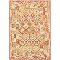 Kilim Decorative Hand-woven Wool Area Rug (6' 6 x 9' 7) - Multi