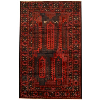 Herat Oriental Afghan Balouchi Hand-knotted Wool Area Rug (3'10 x 6'2)