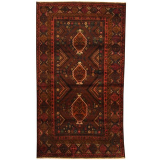 Herat Oriental Afghan Balouchi Hand-knotted Wool Area Rug (3'8 x 6'8)