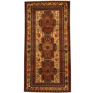 Herat Oriental Afghan Balouchi Hand-knotted Wool Area Rug (3'5 x 6'7)