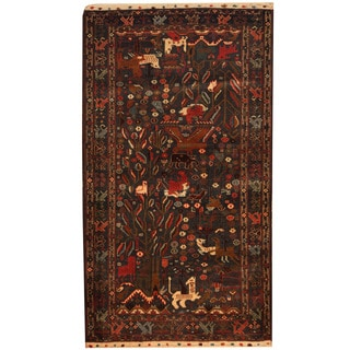 Herat Oriental Afghan Balouchi Hand-knotted Wool Area Rug (4' x 7')