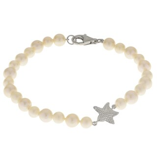 Pearls For You 7.5-inch Sterling Silver White Freshwater Pearl Starfish Bracelet (5.5-7 mm)