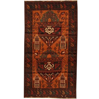 Herat Oriental Afghan Balouchi Hand-knotted Wool Area Rug (3'6 x 6'2)