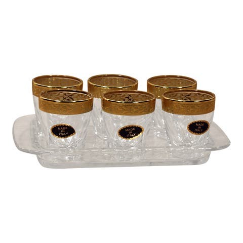 Lorren Home Trend Gold Band Italy 6 Shot Glasses and Tray Set
