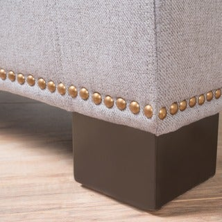 Jethro Studded Fabric Storage Ottoman Bench by Christopher Knight Home