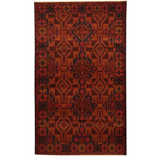 Herat Oriental Afghan Balouchi Hand-knotted Wool Area Rug (3'10 x 6'4)