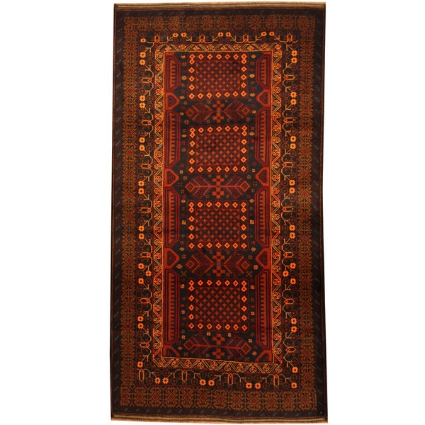 Herat Oriental Hand Tufted Wool Red Black Area Rug: Shop Herat Oriental Afghan Balouchi Hand-knotted Wool Area