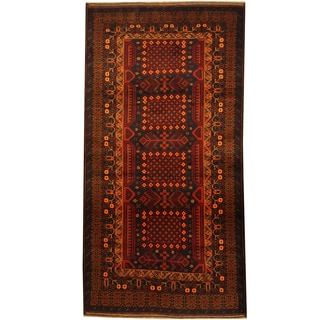 Herat Oriental Afghan Balouchi Hand-knotted Wool Area Rug (3'8 x 7')