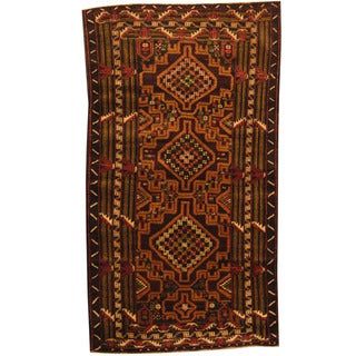 Herat Oriental Afghan Balouchi Hand-knotted Wool Rug (3'7 x 6'4)