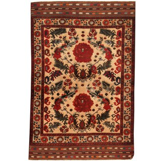 Herat Oriental Afghan Balouchi Hand-knotted Wool Area Rug (4' x 6')