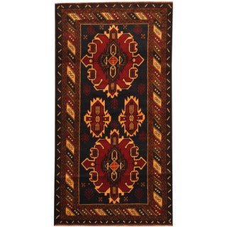 Herat Oriental Afghan Balouchi Hand-knotted Wool Area Rug (3'7 x 6'9)