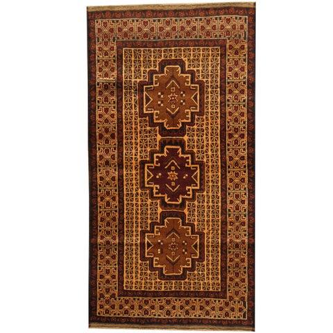 Handmade Herat Oriental Afghan Balouchi Wool Area Rug (Afghanistan) - 3'6 x 6'9