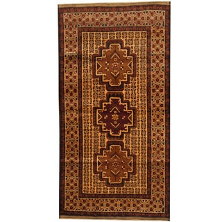 Herat Oriental Afghan Balouchi Hand-knotted Wool Area Rug (3'6 x 6'9)