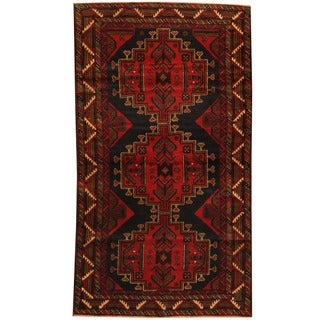 Herat Oriental Afghan Balouchi Hand-knotted Wool Area Rug (3'7 x 6'3)