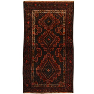 Herat Oriental Afghan Balouchi Hand-knotted Wool Area Rug (3'7 x 6'5)