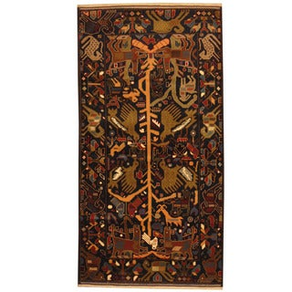 Herat Oriental Afghan Balouchi Hand-knotted Wool Area Rug (3'7 x 6'10)
