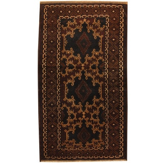 Herat Oriental Afghan Balouchi Hand-knotted Wool Area Rug (3'9 x 6'8)