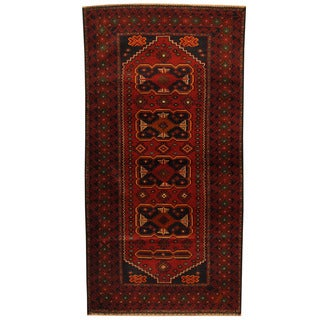 Herat Oriental Afghan Balouchi Hand-knotted Wool Area Rug (3'7 x 6'8)
