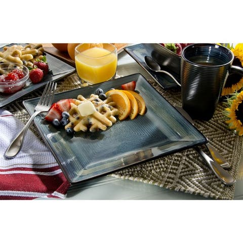 Oneida Adriatic Blue Stoneware 32-piece Dinnerware Set (Service for 8)