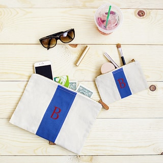 Personalized Blue Striped Blue Canvas Leather Clutch Set