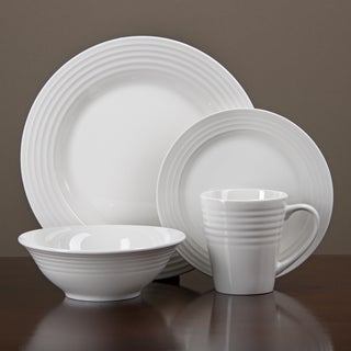Oneida Continuum White Porcelain 32-piece Dinnerware Set (Serves 8)