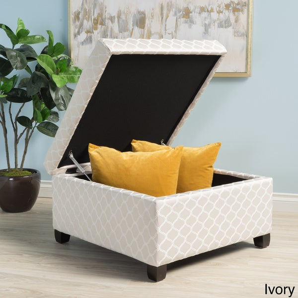 Matteo Square Patterned Fabric Storage Ottoman By Christopher Knight Home    Free Shipping Today   Overstock.com   19147076