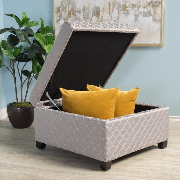 Matteo Square Patterned Fabric Storage Ottoman By Christopher Knight Home