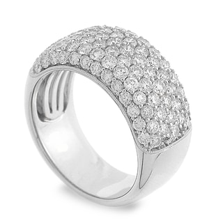 Azaro 14k White Gold 2ct TDW Round-cut Diamond Halfway Milgrain Ring (H-I, SI1-SI2)