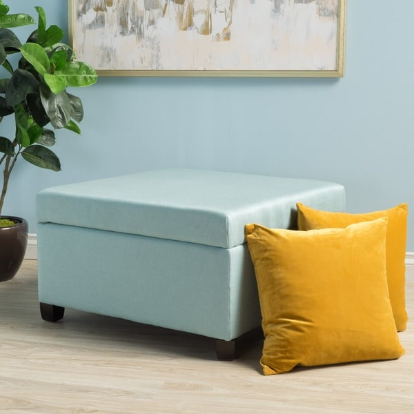 Matteo Square Fabric Storage Ottoman By Christopher Knight Home   Free  Shipping Today   Overstock.com   19147111