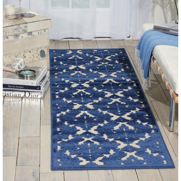 Nourison Ultima Ivory/Blue Area Rug (2'2 x 7') - 2'2 x 7'