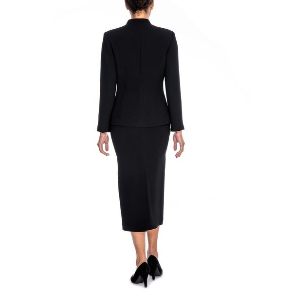 Giovanna Signature Women's Washable Piping Detail 3-piece Skirt Suit