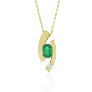 Suzy Levian Modern 14k Yellow Gold 3/4ct Emerald and Diamond Accent Birthstone Pendant