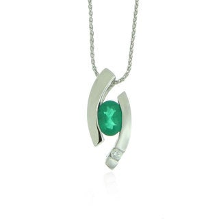 Suzy Levian Modern 14k White Gold 3/4ct Emerald and Diamond Accent Birthstone Pendant