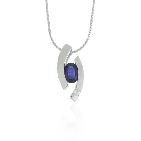 Suzy Levian Modern 14k White Gold 7/8ct Sapphire and Diamond Accent Birthstone Pendant