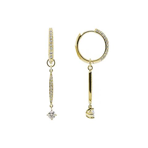 18k Yellow Gold 5/8ct TDW Diamond Hoop/ Drop Earrings
