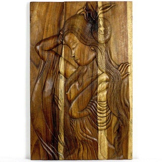 Phuying Woman 24 x 36 Hand-carved Antique Oak Oil Wall Panel (Thailand)