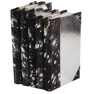 Metallic Hide Books - Black/Silver, S/5