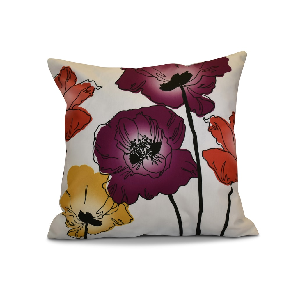 Gray Floral Print Pillow Traditional Bird Floral E by design 16 x 16-inch