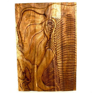 Chang Elephant 20 x 30 Hand-carved Walnut Oil Wall Panel (Thailand)
