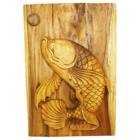 Leaping Pla Fish 20 x 30 Handmade Golden Oak Wall Panel (Thailand)