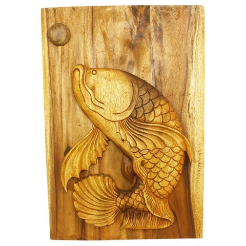Haussmann Handmade Wood Leaping Pla (Fish) Wall Panel 20 x 30 in H Oak Oil